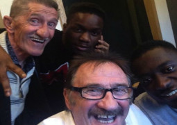 """Tinchy Stryder """"laying down some cool stuff"""" with the Chuckle Brothers"""