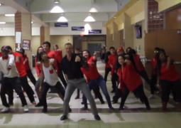 Teacher leads students in 'Uptown Funk' dance routine through school