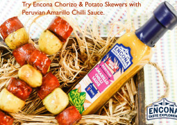 Encona Recipes: chorizo & potato skewers with Peruvian amarillo chilli sauce
