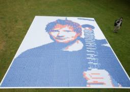 StubHub have created a massive portrait of Ed Sheeran's face using 13,000 Ed Sheeran ticket stubs